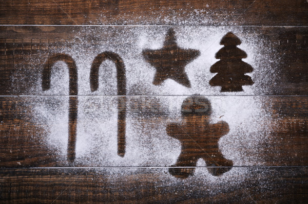 Star kerstboom gingerbread man shot houten tafel glazuursuiker Stockfoto © nito