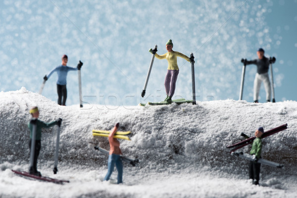 Miniature paysage différent hiver temps homme Photo stock © nito