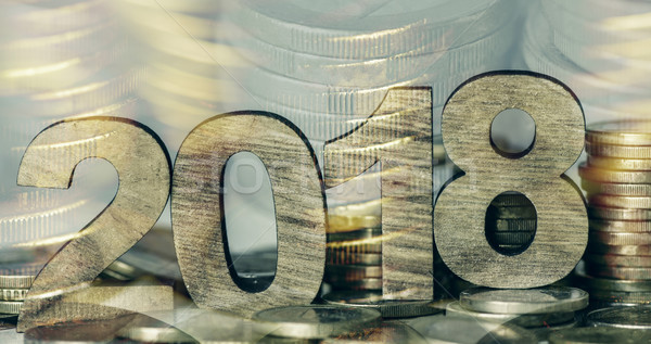 Stock photo: euro coins and number 2018, as the new year