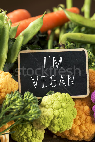 raw vegetables and text I am vegan Stock photo © nito