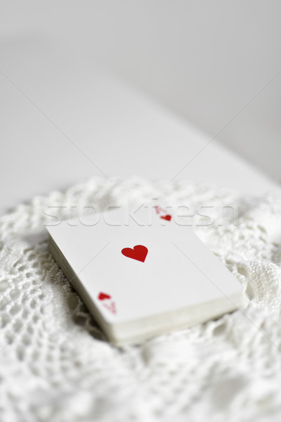 deck of poker cards with the ace of hearts on top Stock photo © nito