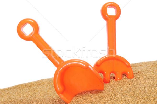 Tengerpart ásó gereblye homok fehér gyerekek Stock fotó © nito