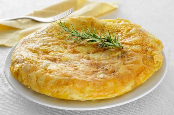 Tortilla espanol primer plano placa típico establecer Foto stock © nito