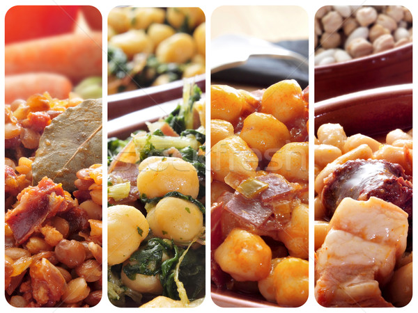 spanish legume stews collage Stock photo © nito