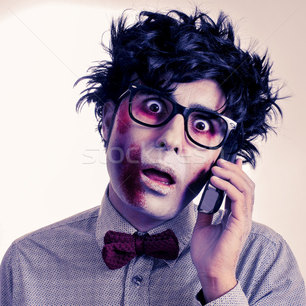 hipster zombie talking on the phone, with a retro effect Stock photo © nito
