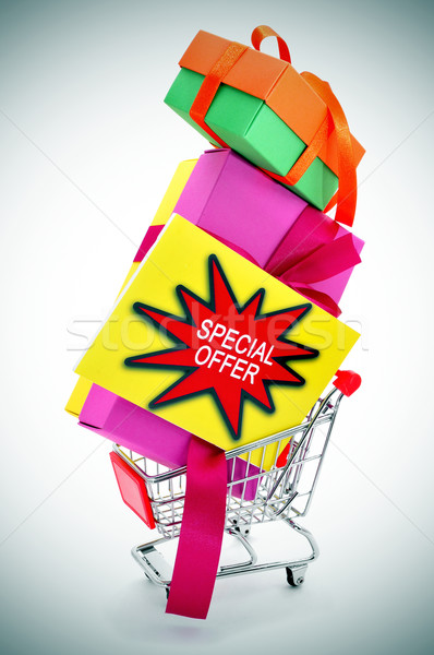 boxes and signboard with the text special offer in a shopping ca Stock photo © nito