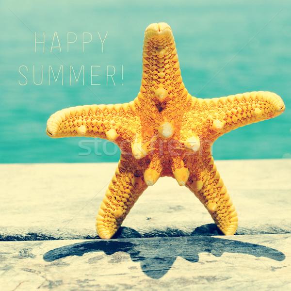 Starfish pier texto feliz verão Foto stock © nito