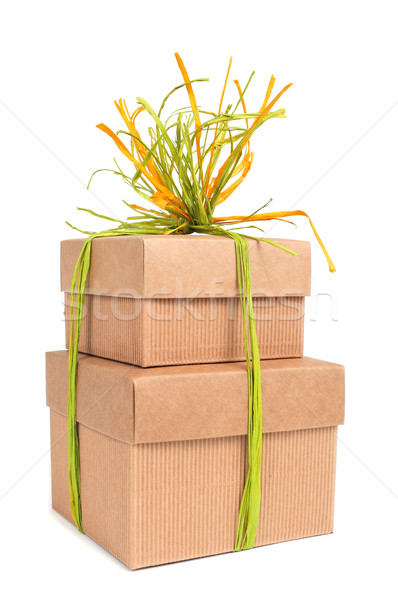 gift boxes tied with natural raffia of different colors Stock photo © nito