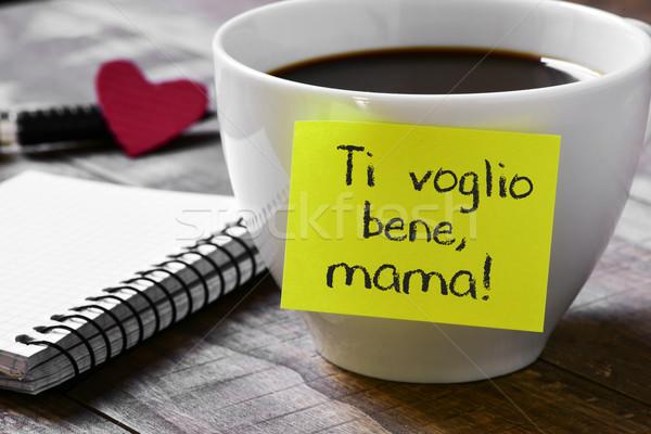 Foto stock: Texto · mamãe · amor · mamãe · italiano · escrito