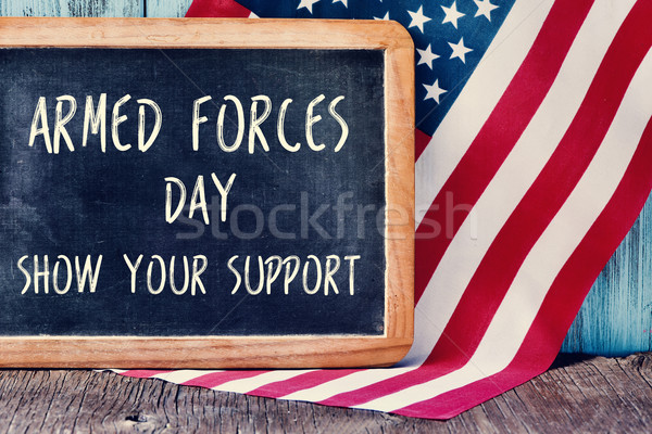 US flag and text armed forces day, show your support Stock photo © nito