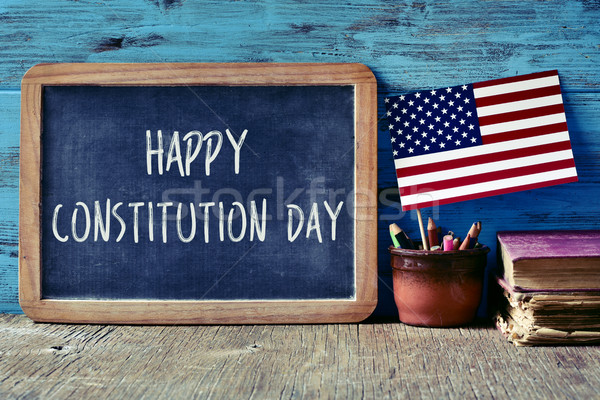 text happy constitution day and flag of USA Stock photo © nito