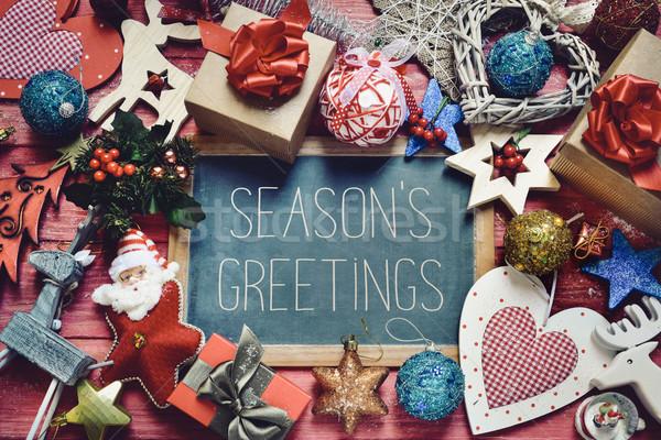 ornaments and gifts and text seasons greetings Stock photo © nito