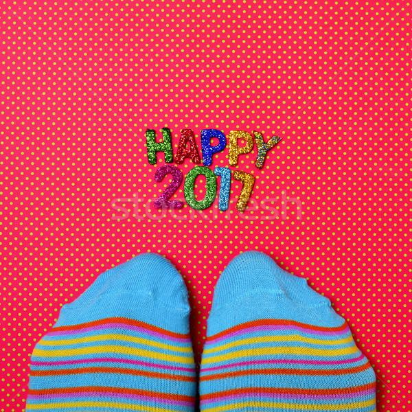 Picioare şosete text fericit shot Imagine de stoc © nito