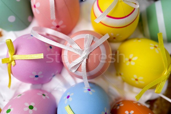 Stock fotó: Díszített · húsvéti · tojások · különböző · színek · lövés · köteg