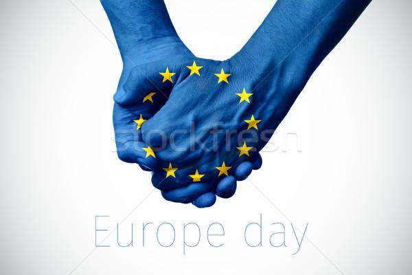 Avrupa bayrak metin Avrupa gün iki kişi Stok fotoğraf © nito