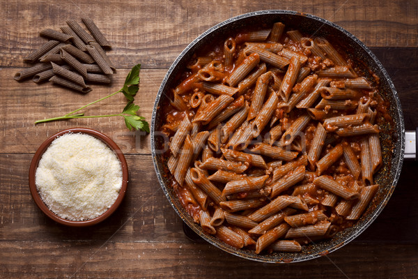 buckwheat penne rigate alla bolognese Stock photo © nito