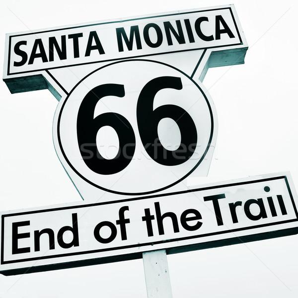 Santa Monica, 66, End of the Trail sign Stock photo © nito