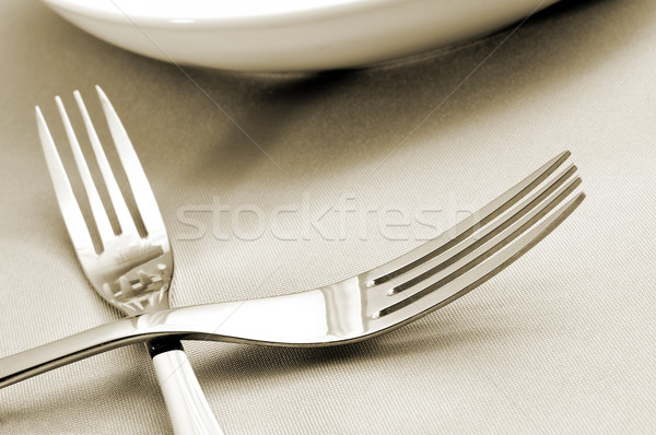 forks and plates on a tablecloth Stock photo © nito