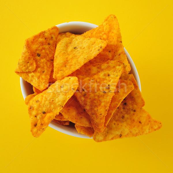 Tortilla batatas fritas tigela amarelo comida fundo Foto stock © nito