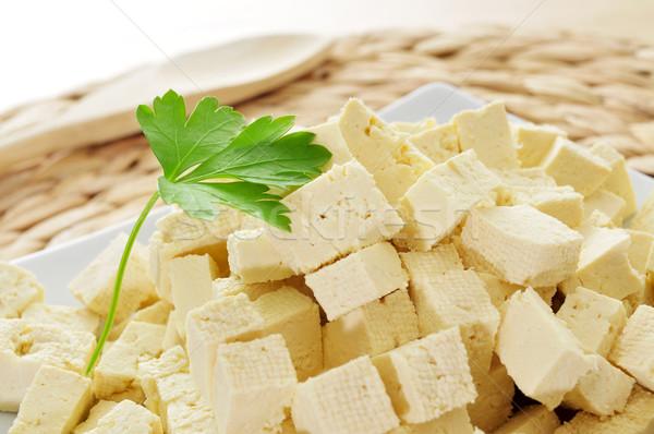 Тофу пластина продовольствие здоровья молоко азиатских Сток-фото © nito