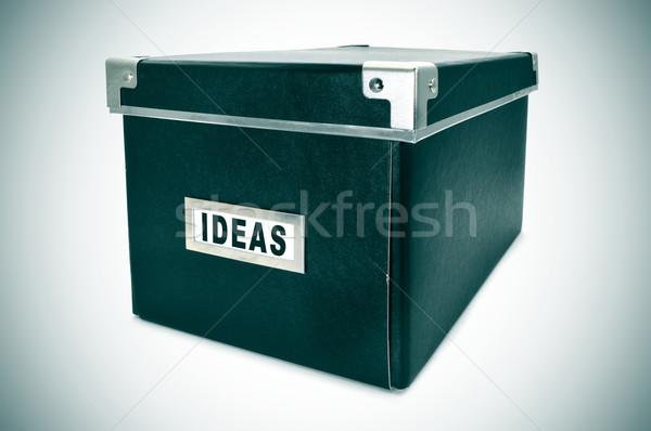 Idee vak zwarte karton opslag woord Stockfoto © nito