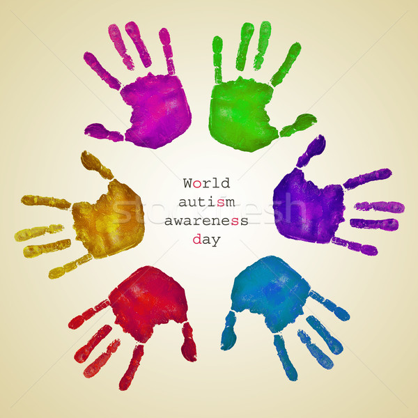 Unterschiedlich Farben Text Welt Autismus Bewusstsein Stock foto © nito