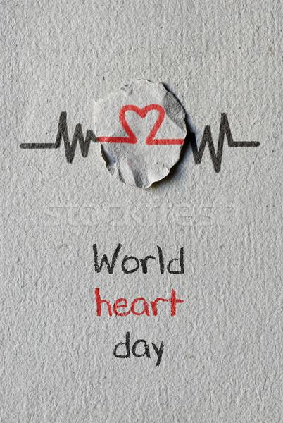 Kalp simge metin dünya gün kırmızı Stok fotoğraf © nito
