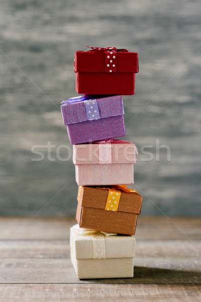stack of gifts on a wooden surface Stock photo © nito