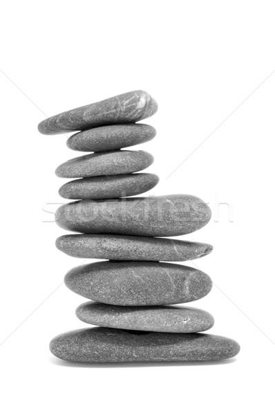 Zrównoważony zen kamienie biały relaks Zdjęcia stock © nito
