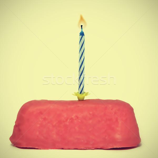 небольшой именинный торт свечу ретро эффект продовольствие Сток-фото © nito
