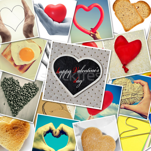 Feliz dia dos namorados colagem diferente corações coisas Foto stock © nito