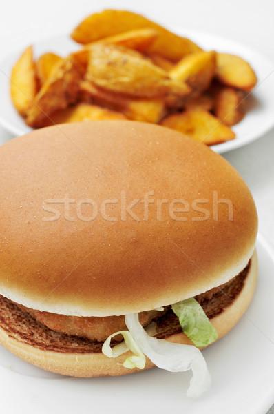 Frango burger casa fries apetitoso conjunto Foto stock © nito