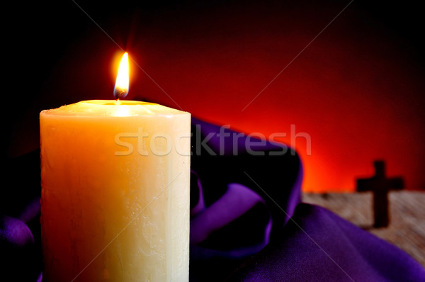lit candle and a Christian cross Stock photo © nito