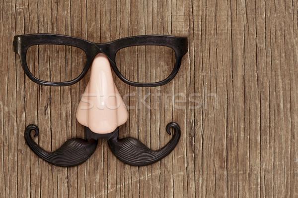 Hamisítvány bajusz orr szemüveg fából készült felület Stock fotó © nito