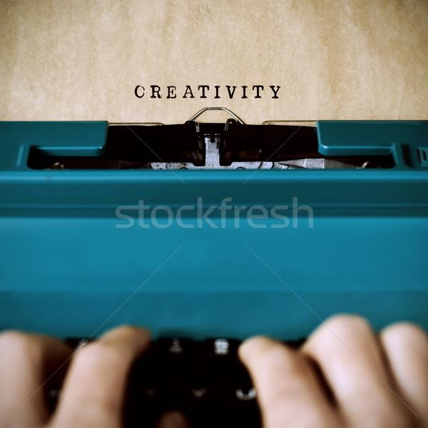 Man woord creativiteit handen jonge man Stockfoto © nito