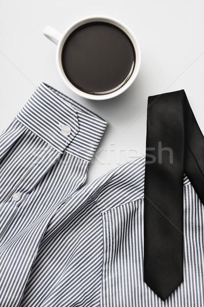 Kávé szemüveg nyakkendő póló lövés csésze Stock fotó © nito