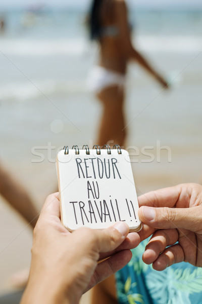 text retour au travail, back to work in french Stock photo © nito