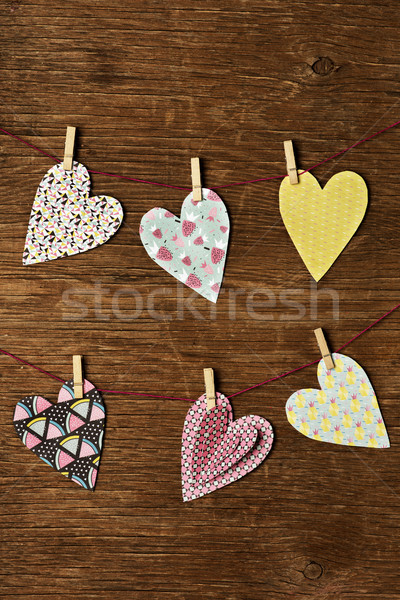 hearts hanging in some clothes lines Stock photo © nito