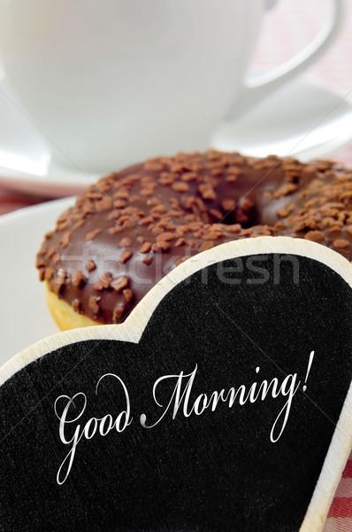 Bonjour tableau noir écrit chocolat donut Photo stock © nito
