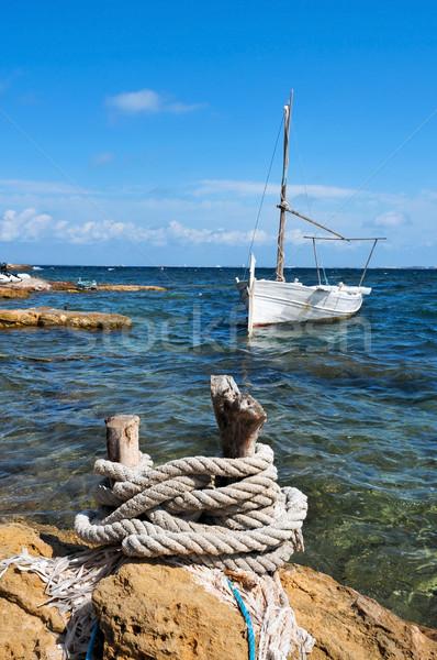 Halászhajók szigetek Spanyolország kilátás part égbolt Stock fotó © nito
