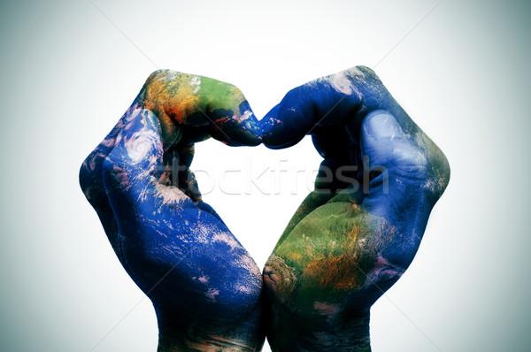 Мир рук земле карта Мир карта человека Сток-фото © nito