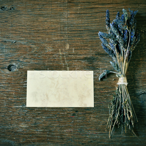 lavender flowers and blank signboard on a rustic table Stock photo © nito