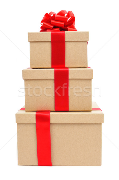 gift boxes tied with red ribbon Stock photo © nito
