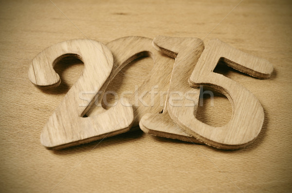 2015 nieuwjaar houten nummers oppervlak teken Stockfoto © nito