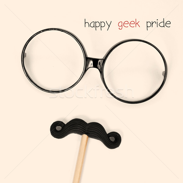 text happy geek pride and eyeglasses and moustache forming a man Stock photo © nito