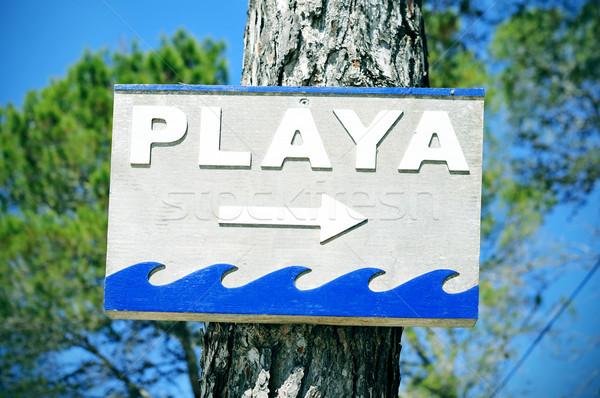 Assinar indicação praia espanhol ilha Foto stock © nito