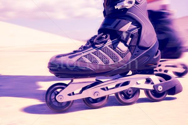 young man roller skating, filtered Stock photo © nito