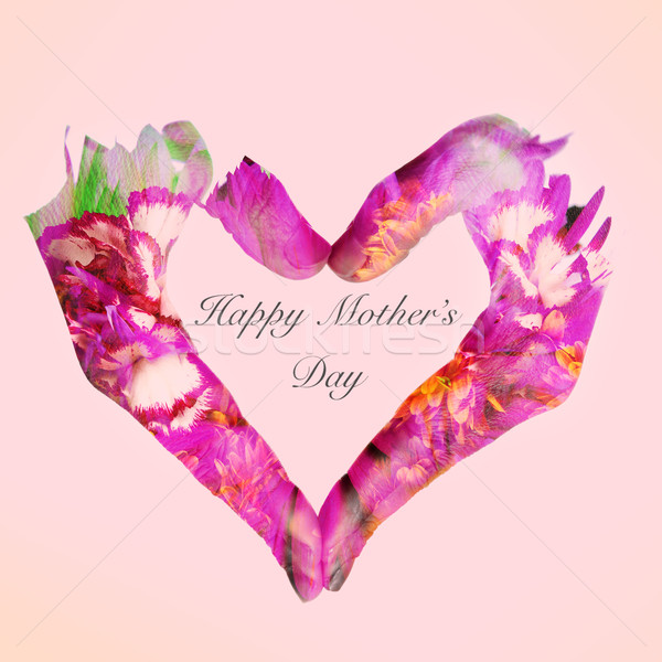 heart and text happy mothers day on a pink background Stock photo © nito