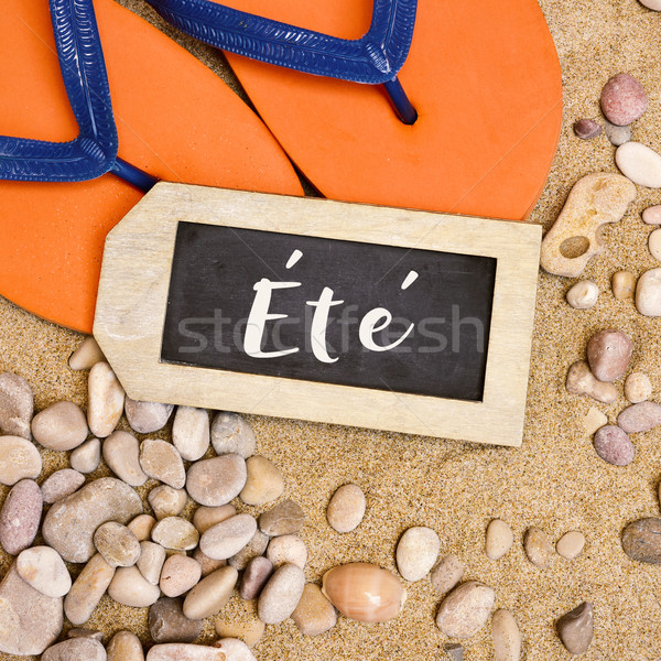 flip-flops on the sand and word ete, summer in french Stock photo © nito