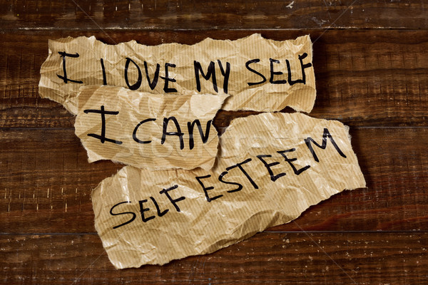 Szeretet konzerv önbecsülés szöveg írott darabok Stock fotó © nito